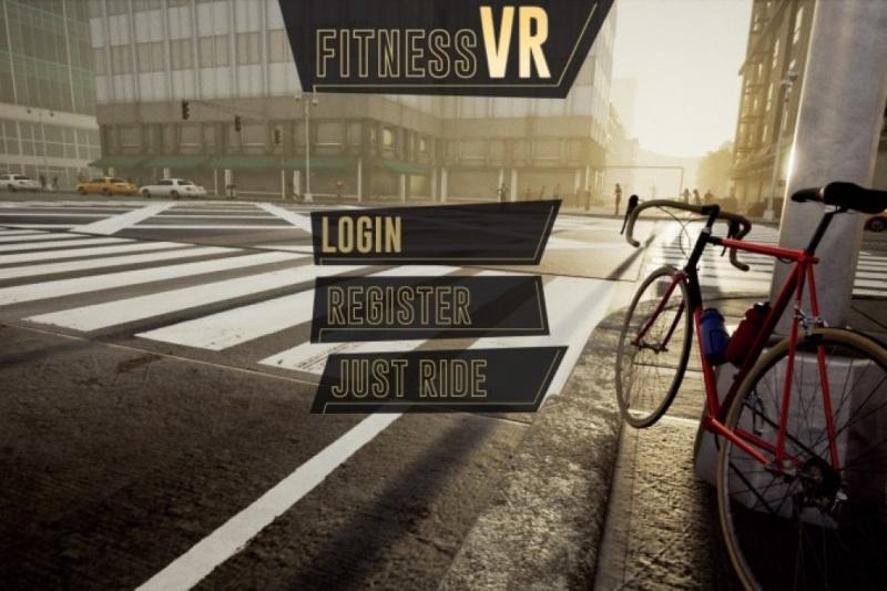 VR fitness bike street
