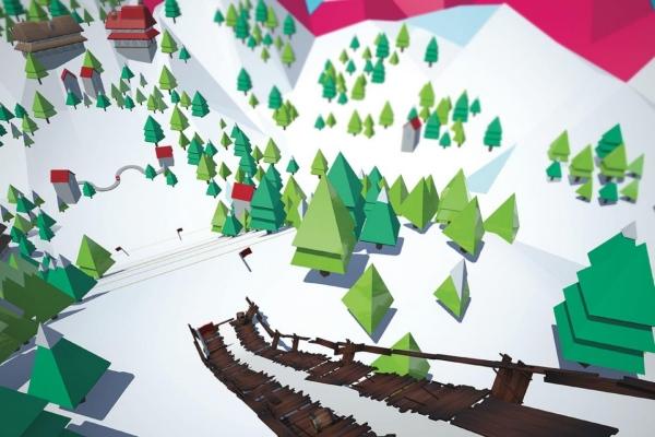 VR ski jump game view