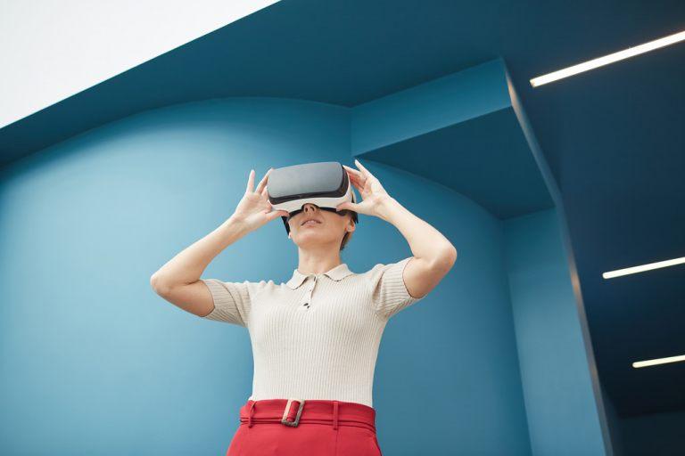 Woman wearing vr headset Envato